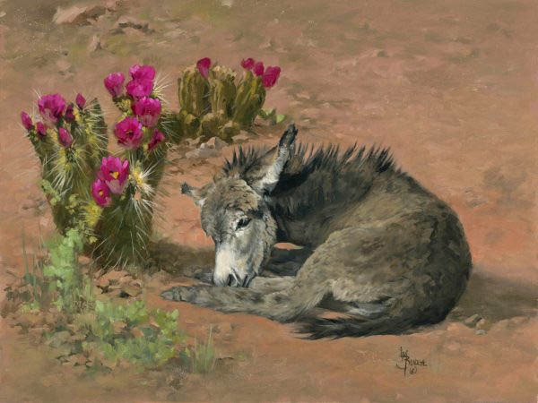 original oil painting by Linda Budge - A bit of shade - burro