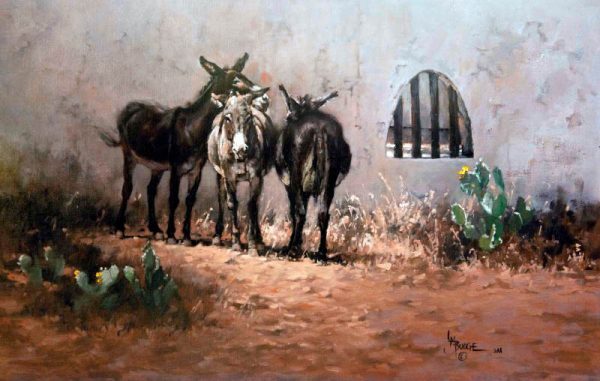 original oil painting by Linda Budge - burros on a lazy afternoon