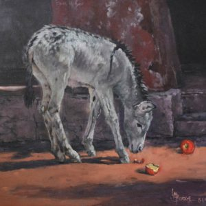 original oil painting by Linda Budge - apples delight burro