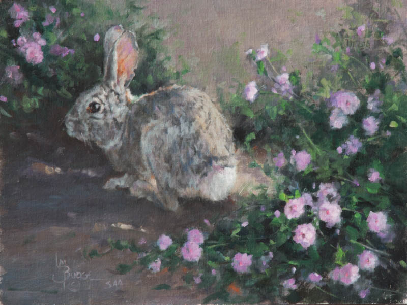 original oil painting by Linda Budge - BUNNY BUFFET