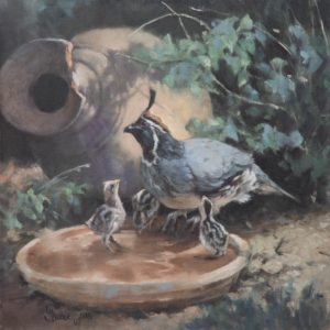 original oil painting by Linda Budge - Drinks all round