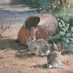original oil painting by Linda Budge - dust bunnies