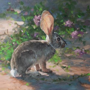 original oil painting by Linda Budge - Light over sand verbena