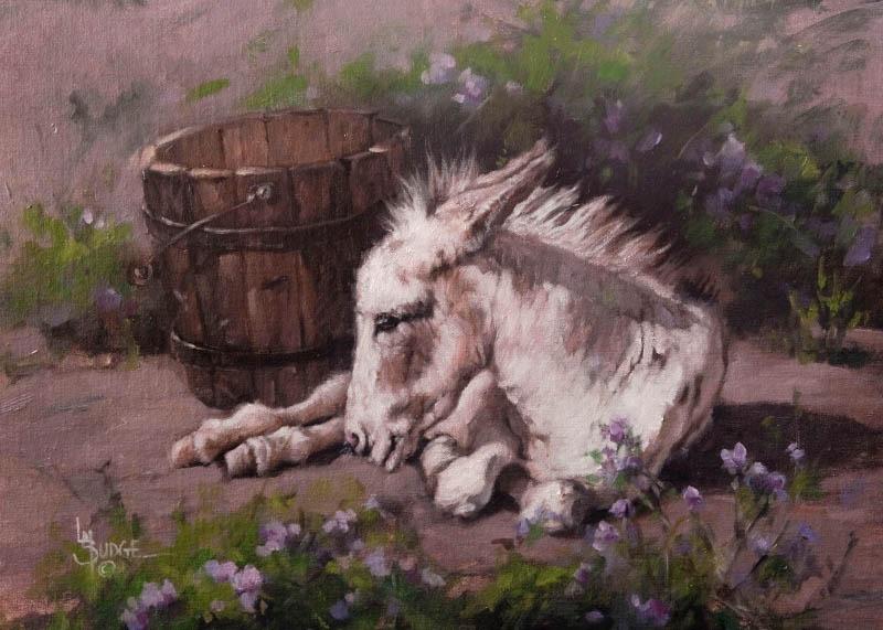 original oil painting by Linda Budge - burro in spring flowers