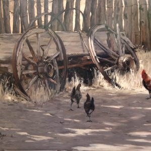 original oil painting by Linda Budge - rooster and chicken