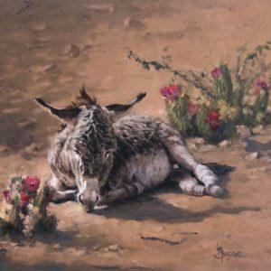 original oil painting by Linda Budge - burro desert flowers