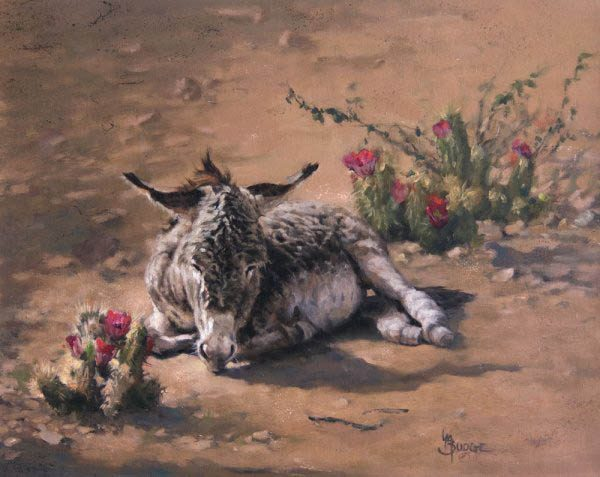original oil painting by Linda Budge - burro desert flowers