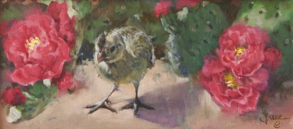 original oil painting by Linda Budge - baby quail