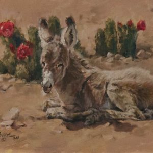 original oil painting by Linda Budge - burro SIESTA