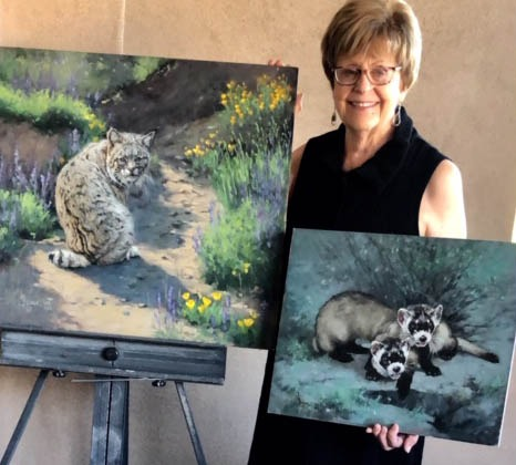Linda Budge-showing paintings