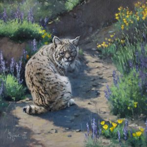 Meeting the Unexpected - Linda Budge painting of a Bobcat